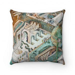Fishing for Escher | Spun Polyester Square Pillow